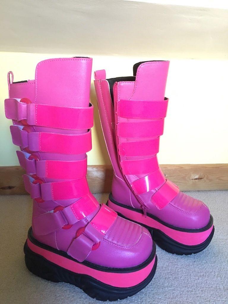 f26c2f748b7 BRIGHT NEON PINK Demonia Neptune 310UV Platform festival goth alternative  boots in Clothes