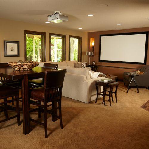 Basement Ideas Basement Home Theater Basement Basement: Projector Screen Basement Design Ideas & Remodel