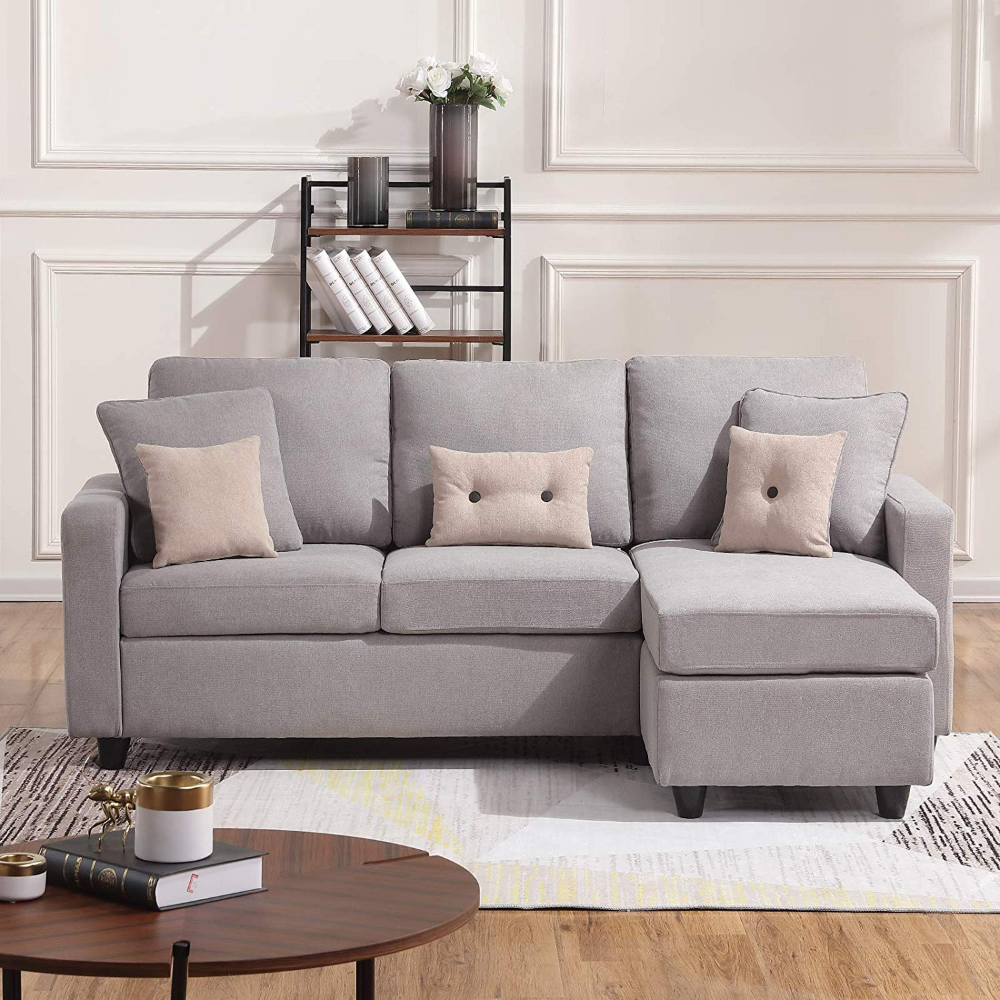 Amazon Com Honbay Convertible Sectional Sofa Couch L Shaped Couch With Modern Linen Fabric For Small Sectional Sofa Sectional Sofa Comfy Sectional Sofa Couch