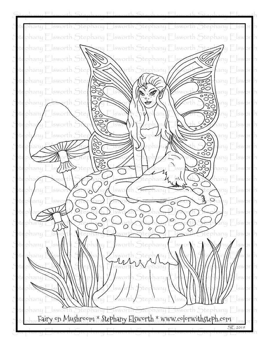 Fairy On Mushroom Free Printable Coloring Page Color With Steph Free Printable Coloring Pages Coloring Pages Free Printable Coloring