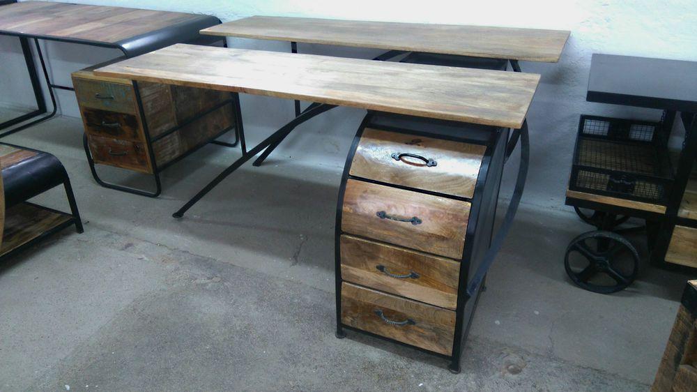 Schreibtisch Industrial schreibtisch akazie industrie design industrial schwarz metall