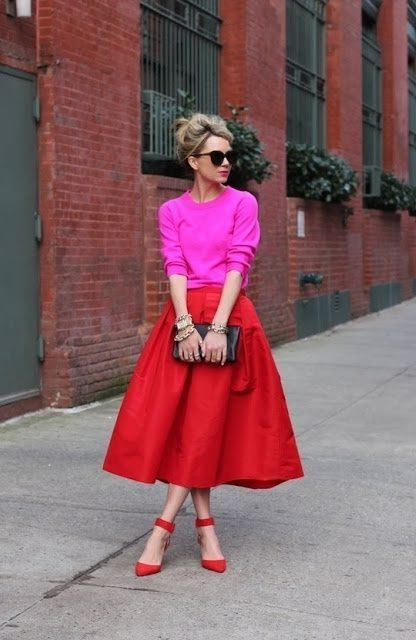 Pink Sweater And Red Skirt 2017 Street Style | New York Fashion ...