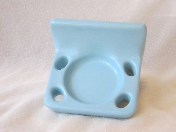 Vintage Blue Ceramic Tile Toothbrush And Cup Holder 12 99