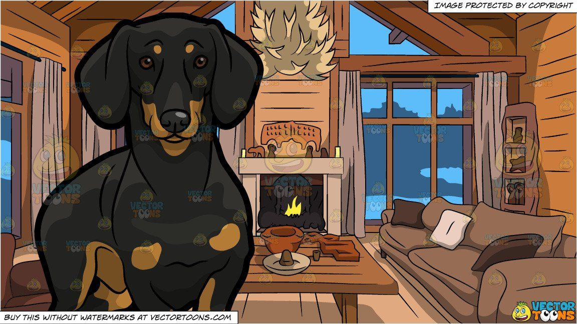 Photo of A Cute Dachshund Dog and Wood Cabin Living Room Background