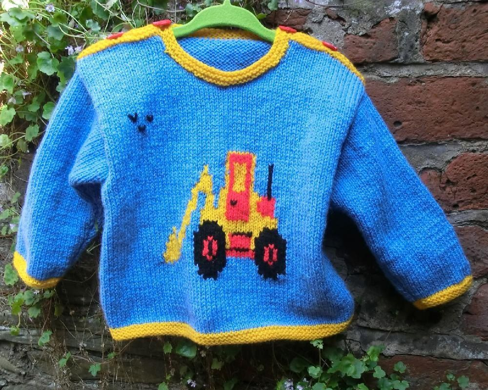 Babys sweater with digger motif knitting patterns patterns and babys sweater with digger motif bankloansurffo Images