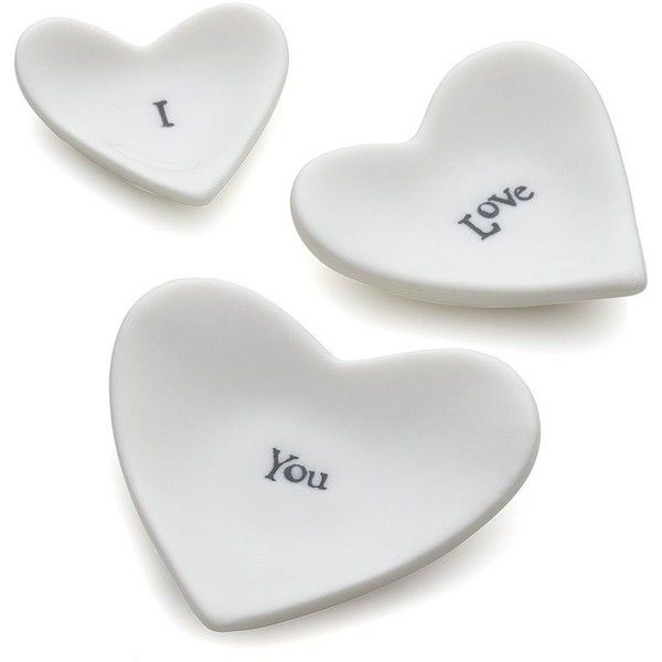 Crate & Barrel I Love You Heart Dishes ($13) found on Polyvore