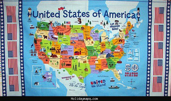 united states map fabric United States Map Tourist Attractions Map Fabric Usa Map Map Quilt