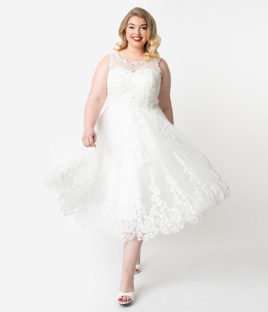 Unique Vintage Plus Size 1950s Ivory Lace Tulle Riviera Bridal Dress 1950s Style Wedding Dresses Bridal Dresses Vintage Wedding Dresses 50s
