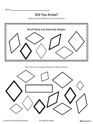 All About Diamond Shapes In Color Shapes Worksheets Shape Worksheets For Preschool Shapes Preschool
