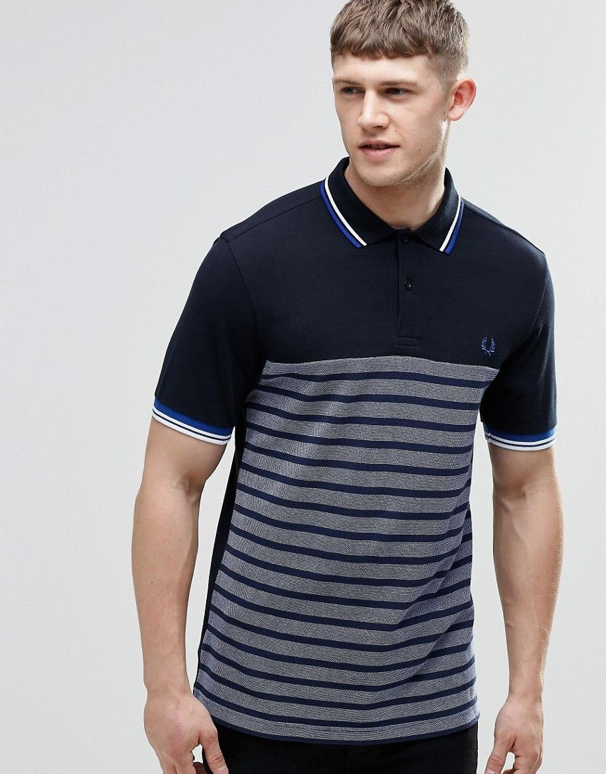 Fred Perry Polo Shirt With Half Stripe Slim Fit