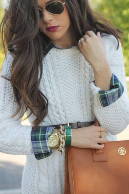 White Knit On Green Plaid Fall Inspo by The Sweetest Thing