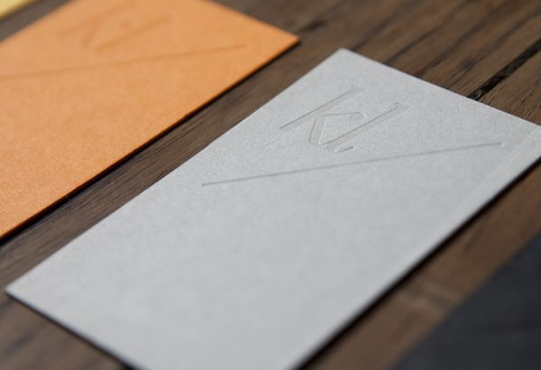 Logo and brand identity for karina lax by teacake bpo business coloured board and blind embossed business cards designed by teacake for karina lax reheart Images