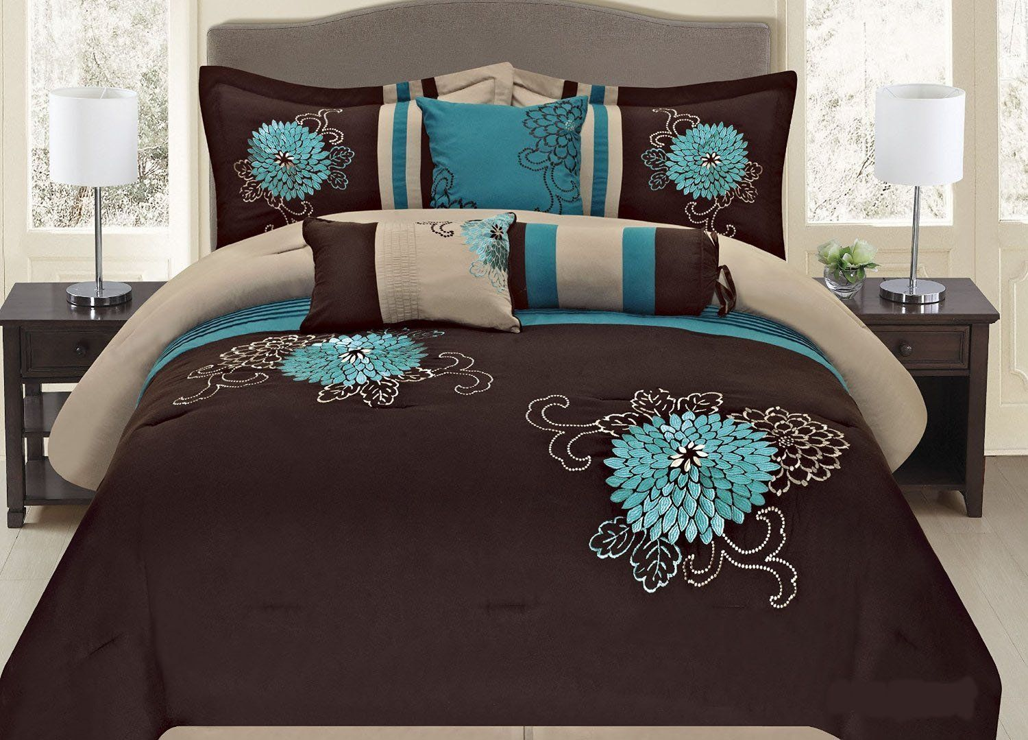 Fancy Collection 7 Pc Embroidery Bedding Brown Turquoise Comforter Set King