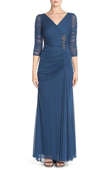 d6f54c2b07ab7 Adrianna Papell Beaded Mesh Gown available at  Nordstrom Petite Evening  Dresses