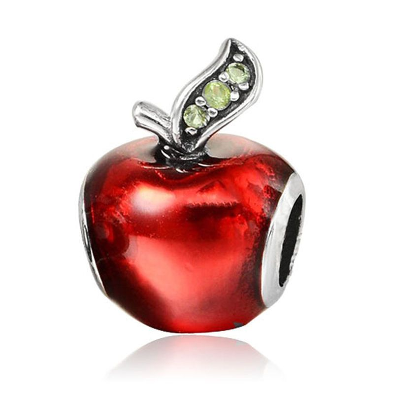 Hot 1pcs Red Apple CZ Charm Spacer Beads Fit 925 Necklace