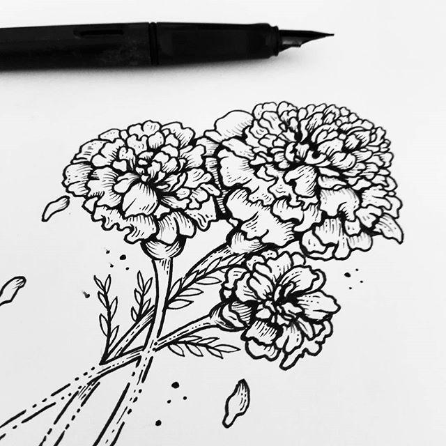 Cempasuchil Quien Quiere Un Tatuaje Floral Pidan El Suyo Que Son De Mis Birth Flower Tattoos Mexican Art Tattoos Flower Drawing