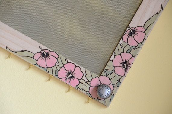 Mirrored Earring Organizer Pink Hibiscus Flower by MEObyMary, $105.00