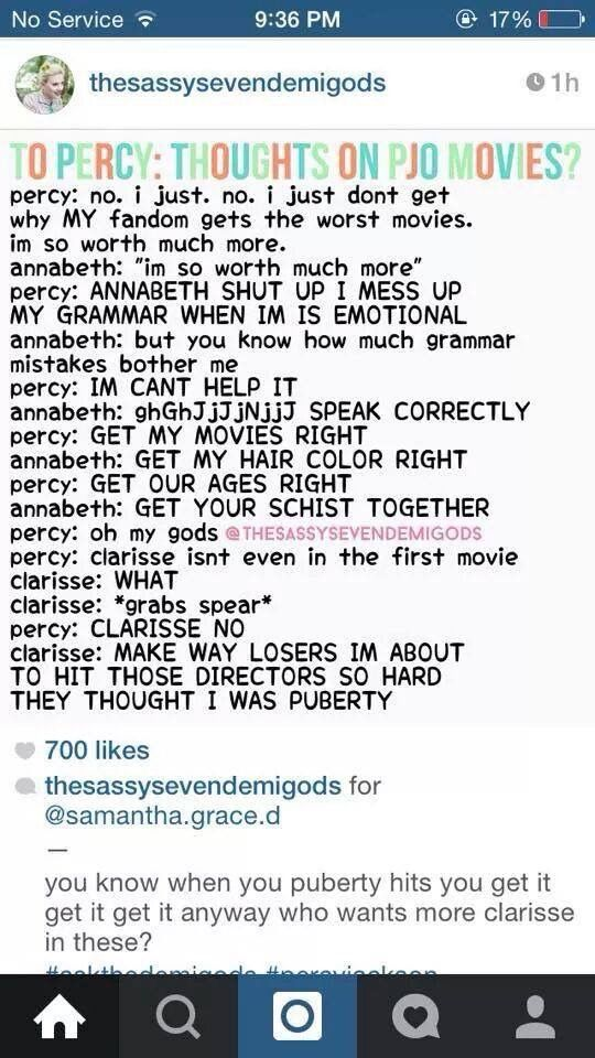 Oh My Gods Clarisse Is So Hilarious Percy Jackson Funny