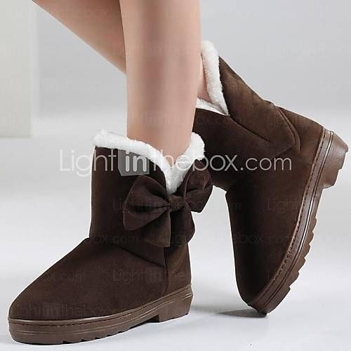 Women's Shoes Round Toe Flat Heel Flocking Ankle Boots with Bowknot More Colors available - CAD $ 24.99
