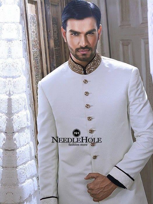 Men Bespoke Sherwani Suit Design In Offwhite Jamawar Fabric