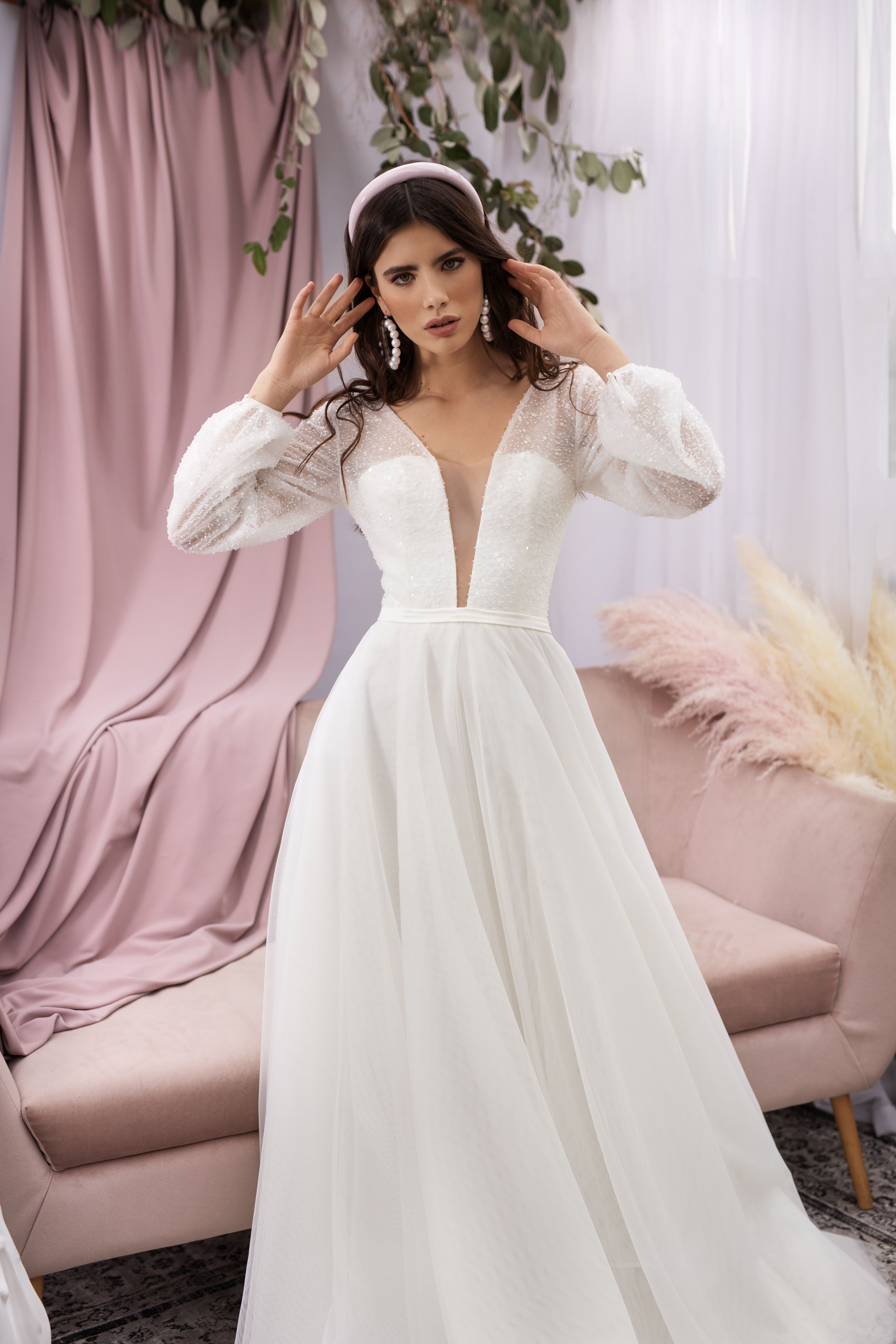 Mesh Bridal Gown With Deep V Neck By Dream Dress Long Sleeves Wedding Dress Bohemian Wedding Trendy Wedding Dresses Airy Wedding Dress Wedding Dress Couture [ 6720 x 4480 Pixel ]