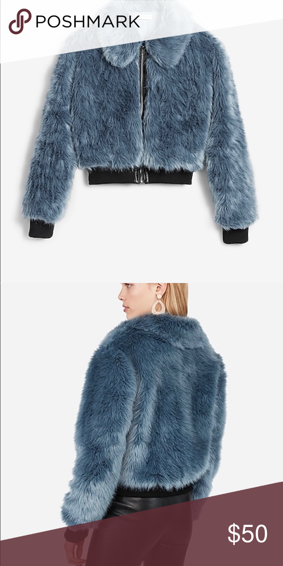 Blue Faux Fur Bomber Jacket By Express Nwt In 2020 Faux Fur Bomber Jacket Fur Bomber Bomber Jacket