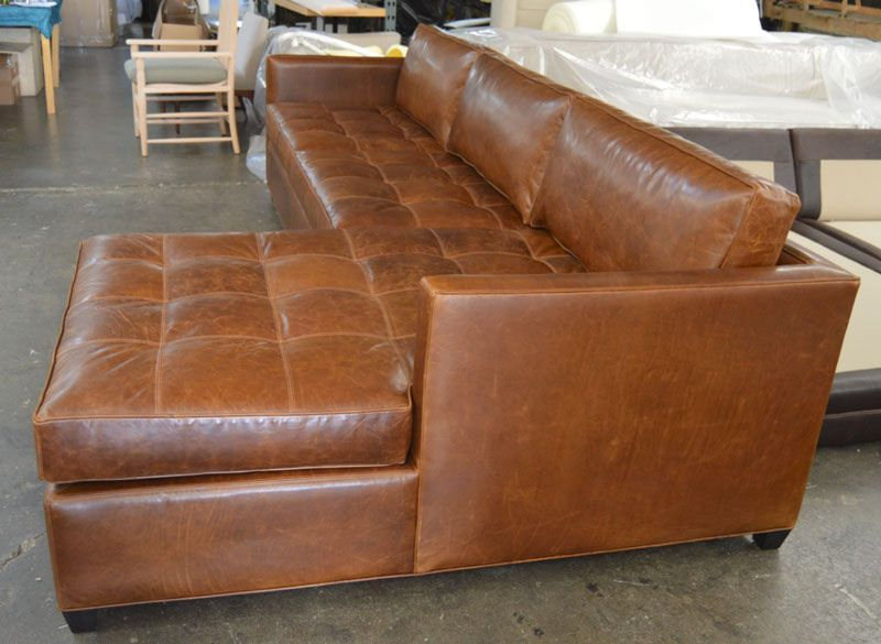 Arizona Leather Sofa Chaise Sectional In Italian Brompton Clic Vintage Raf