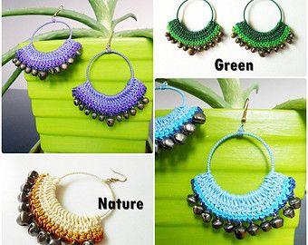 Big Hoop Dangle Earrings Crochet Wax Cord with Bells, Jewelry Thailand Handmade. (JE1029)