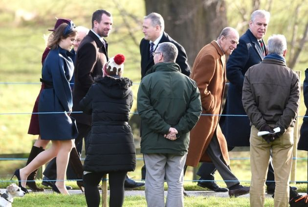 The Duke of York (right), The Duke of Edinburgh, (left- right back) Princess Eugenie, Autumn and Peter Phillips arrive to attend the morning church service at St Mary Magdalene Church in Sandringham. Picture: Joe Giddens/PA Wire