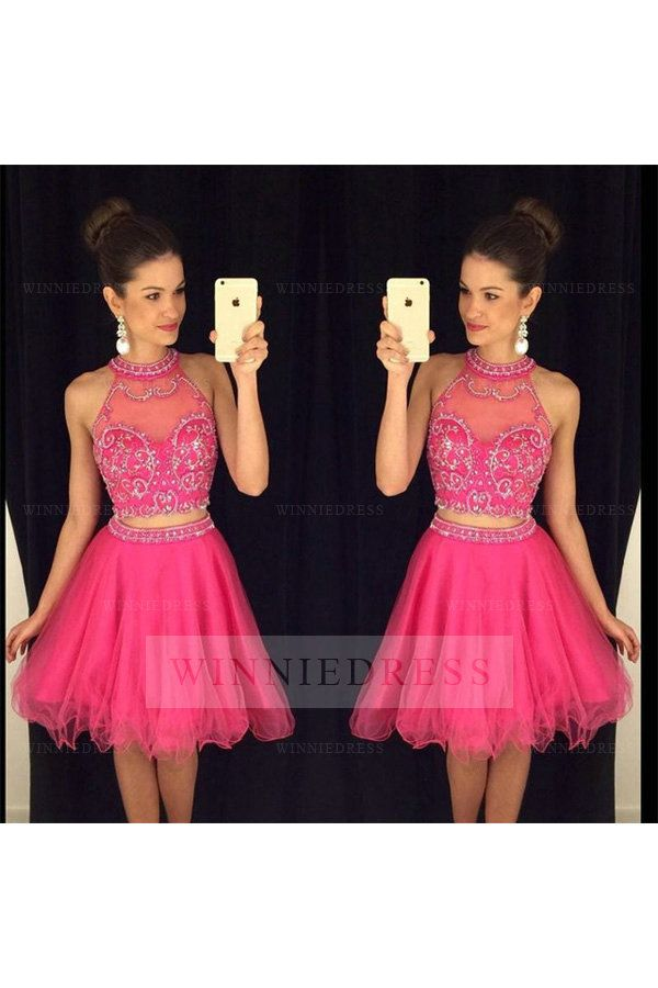 Pretty A-Line Illusion High Neck Knee Length Tulle Fuchsia Two Piece Cocktail Party Prom Dress with Bedding WNHD0734