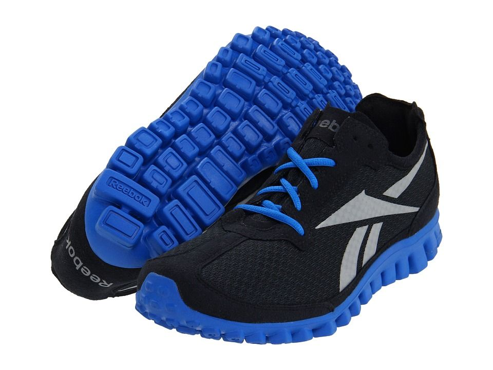 new product cc3a7 19657 Reebok Realflex Black Sneakers with Blue Sole