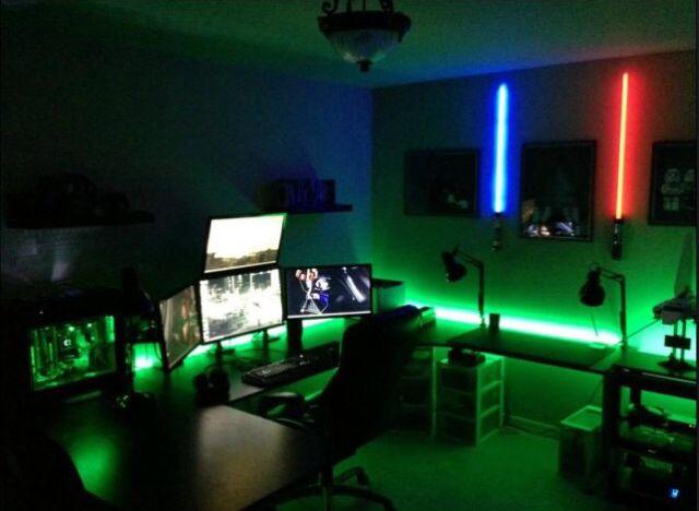 Gaming Bedroom Delectable Green And Blue Led Light  Gaming Rooms Setup  Pinterest  Blue Inspiration