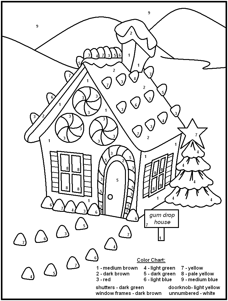 Color By Number Gumdrop House Yum Coloringpages Coloringpagesforkids Colo Christmas Color By Number Christmas Coloring Pages Free Christmas Coloring Pages