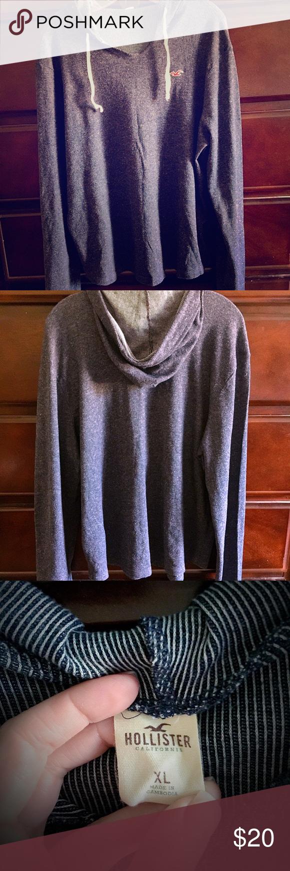 Hollister Blue Light Hoodie Sweater Blue Hollister light sweater hoodie • 58% Cotton 42% Polyester • Does have some pilling, still in EUC. Hollister Tops Sweatshirts & Hoodies
