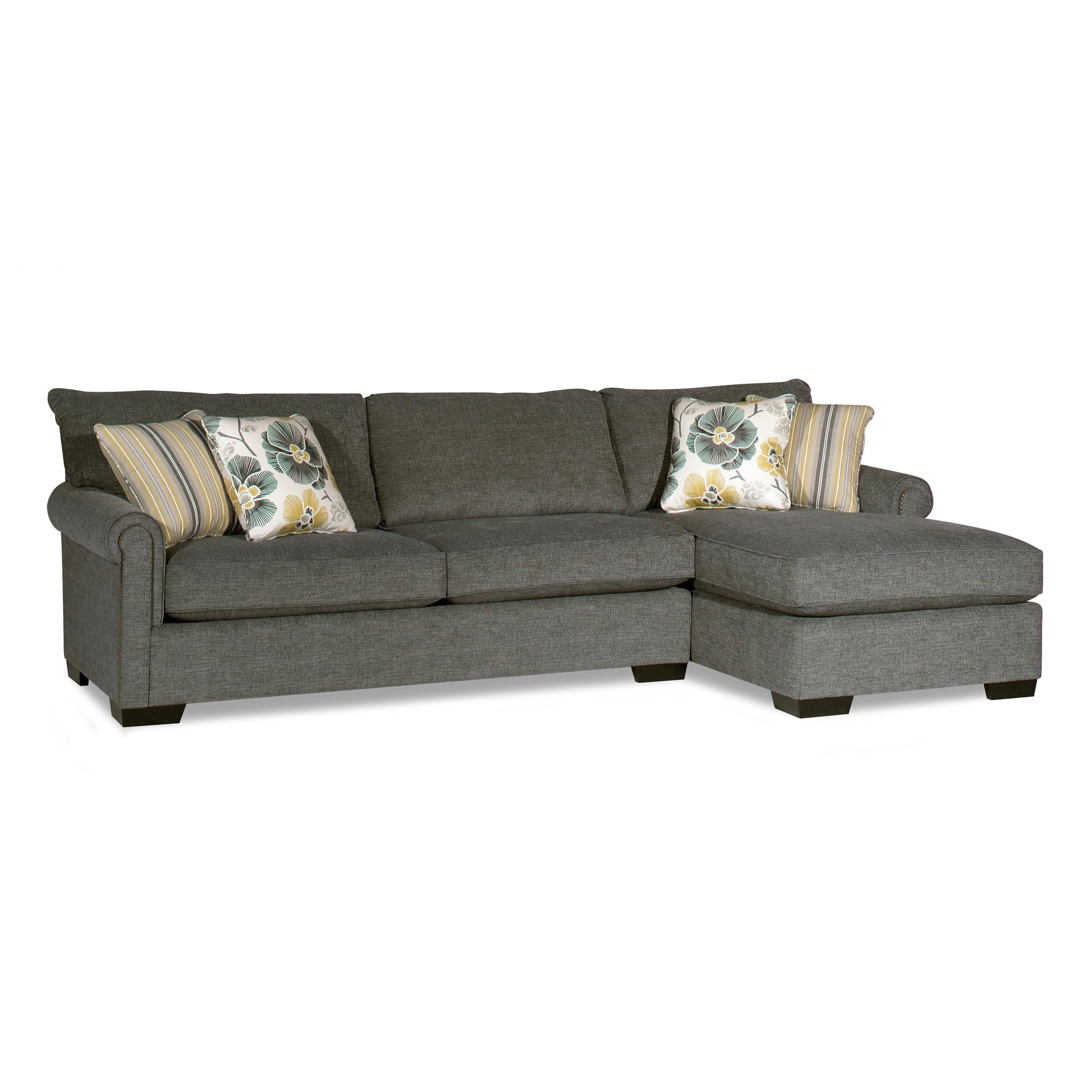 Transitional Sectional Sofa With Chaise And Nailhead Trim