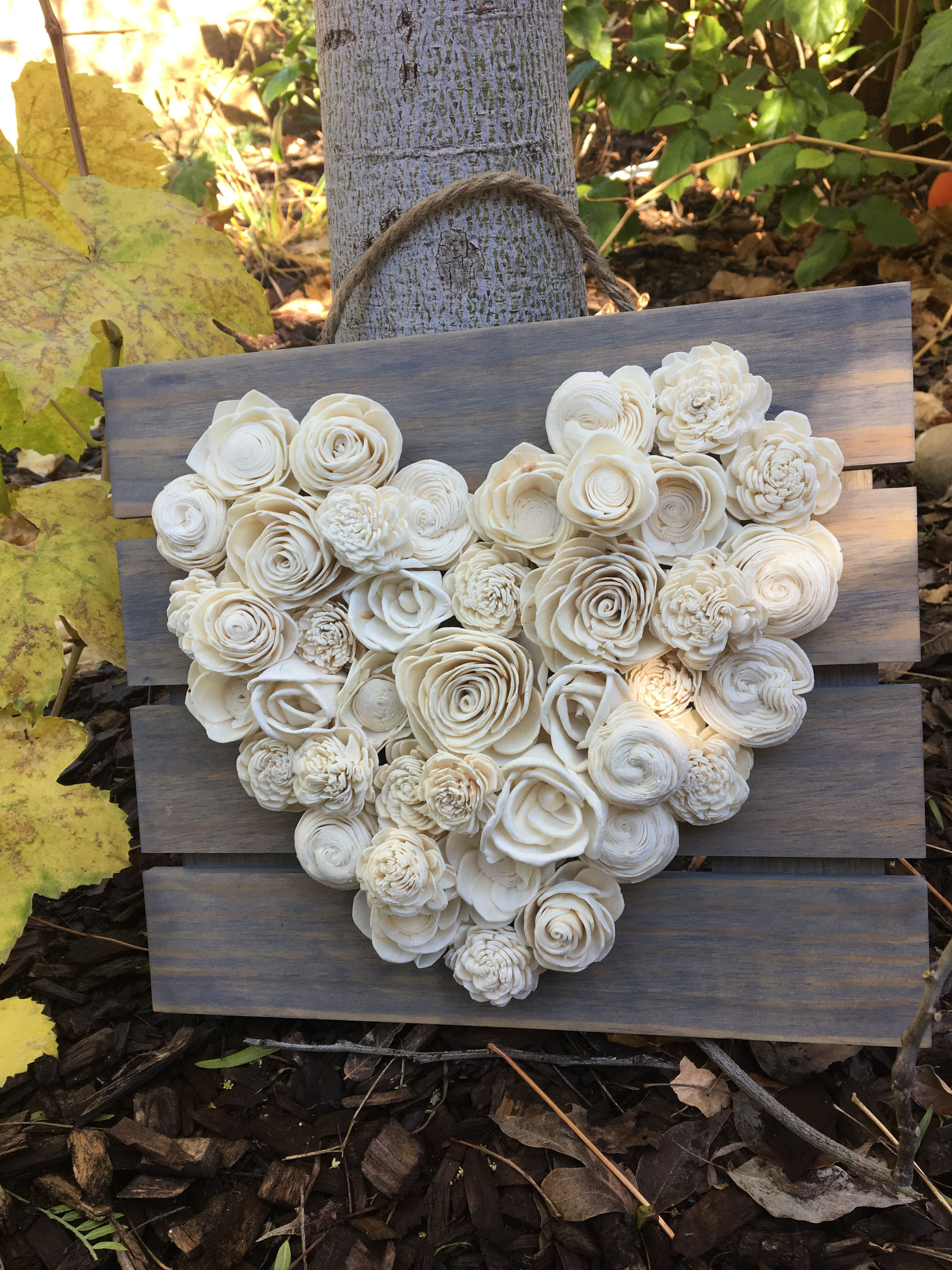 All White Wood Flower Heart Board With Gray Backing Made By Luv2diy Com Wood Flowers Burlap Flowers Diy Craft Kits