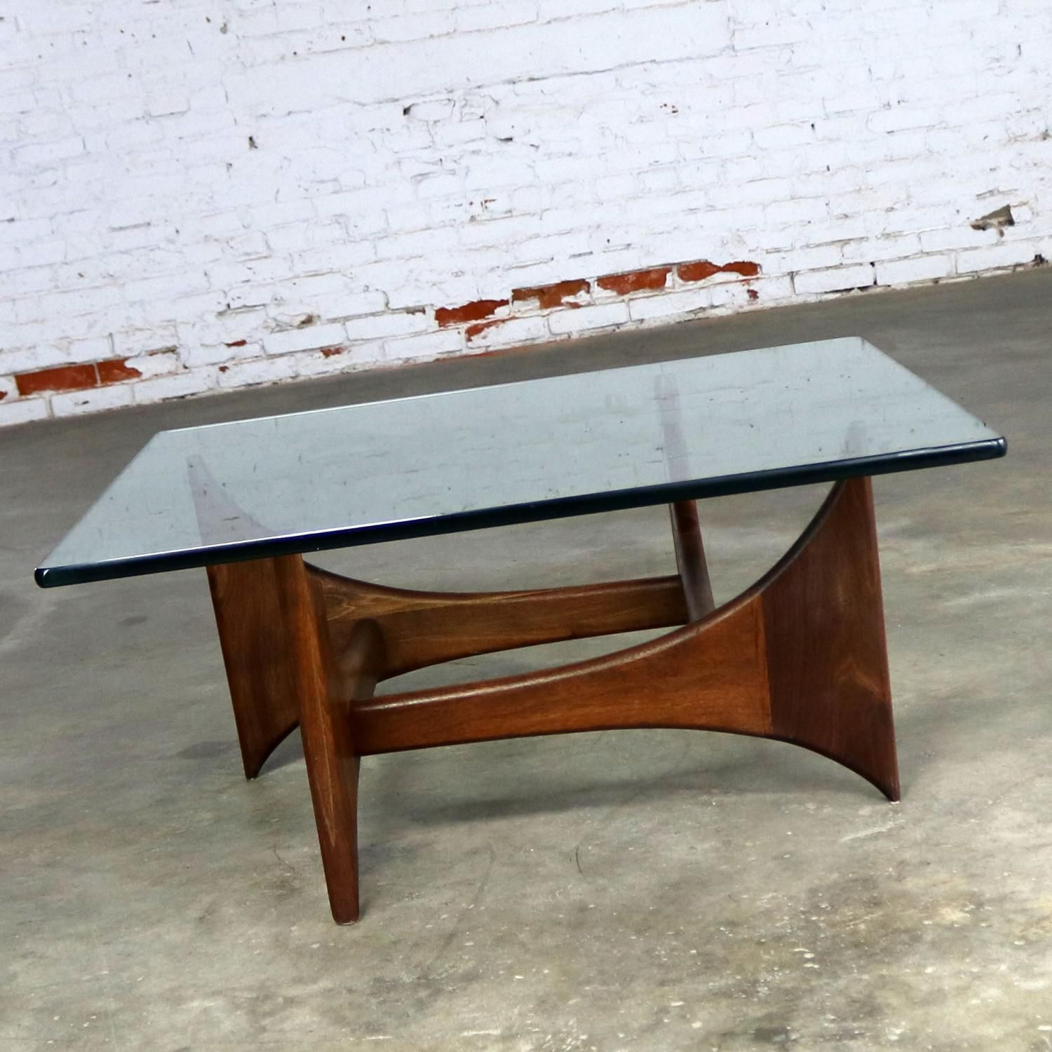 Adrian Pearsall Walnut And Glass Sculptural Cocktail Table For