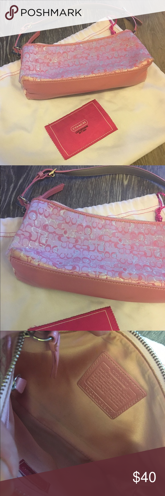 🌸adorable pink COACH bag🌸 Small pink and silver COACH emblem bag. No stains, no wear and tear, comes with duster bag. Bag seems to have a tiny dirt mark or something - hardly noticeable - it's towards the bottom left corner in the first pic Coach Bags Mini Bags
