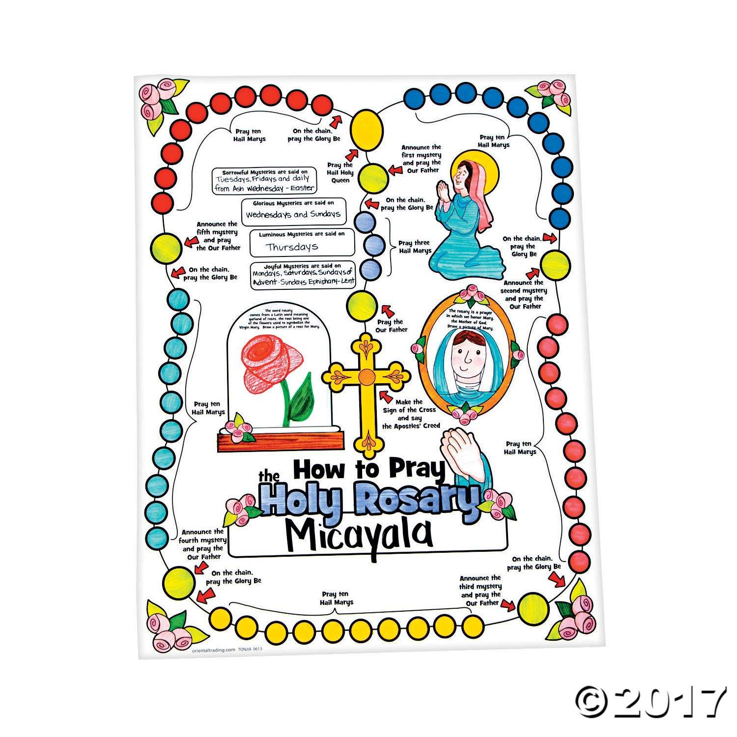 Teach Kids How To Pray The Rosary By Coloring This Poster