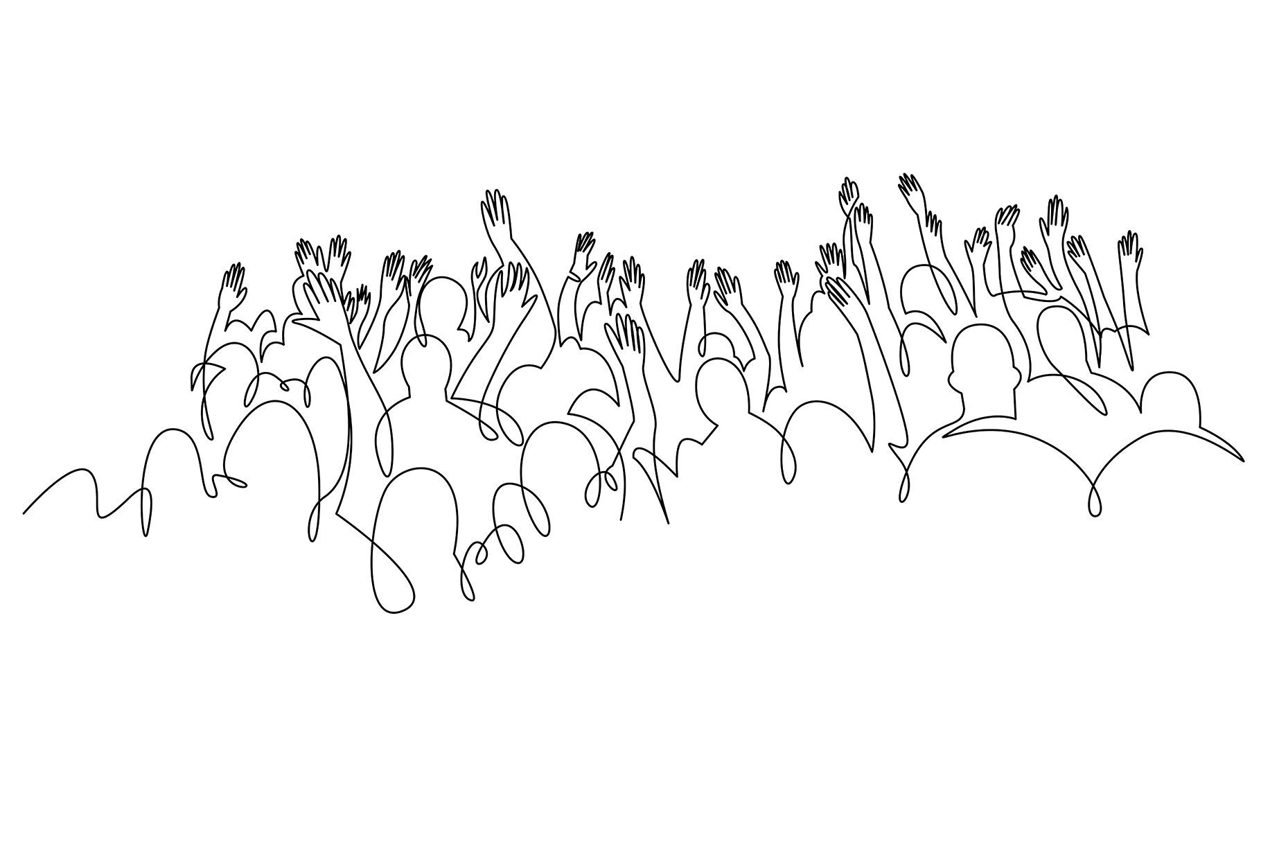 Cheerful Crowd Cheering Illustration Aff Line