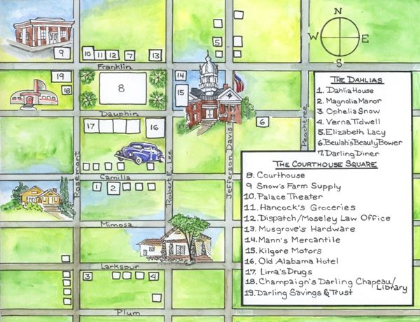 Fictional town of Darling, Alabama. Home to the Darling Dahlia's, a wonderful series by Susan Wittig Albert.