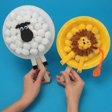 """craftprojectideas.com - Lion and Lamb Paper Plate Puppets """"And the lamb will peacefully dwell with the Lion""""  would be fun to make all the animals from this verse into paper plate puppets"""