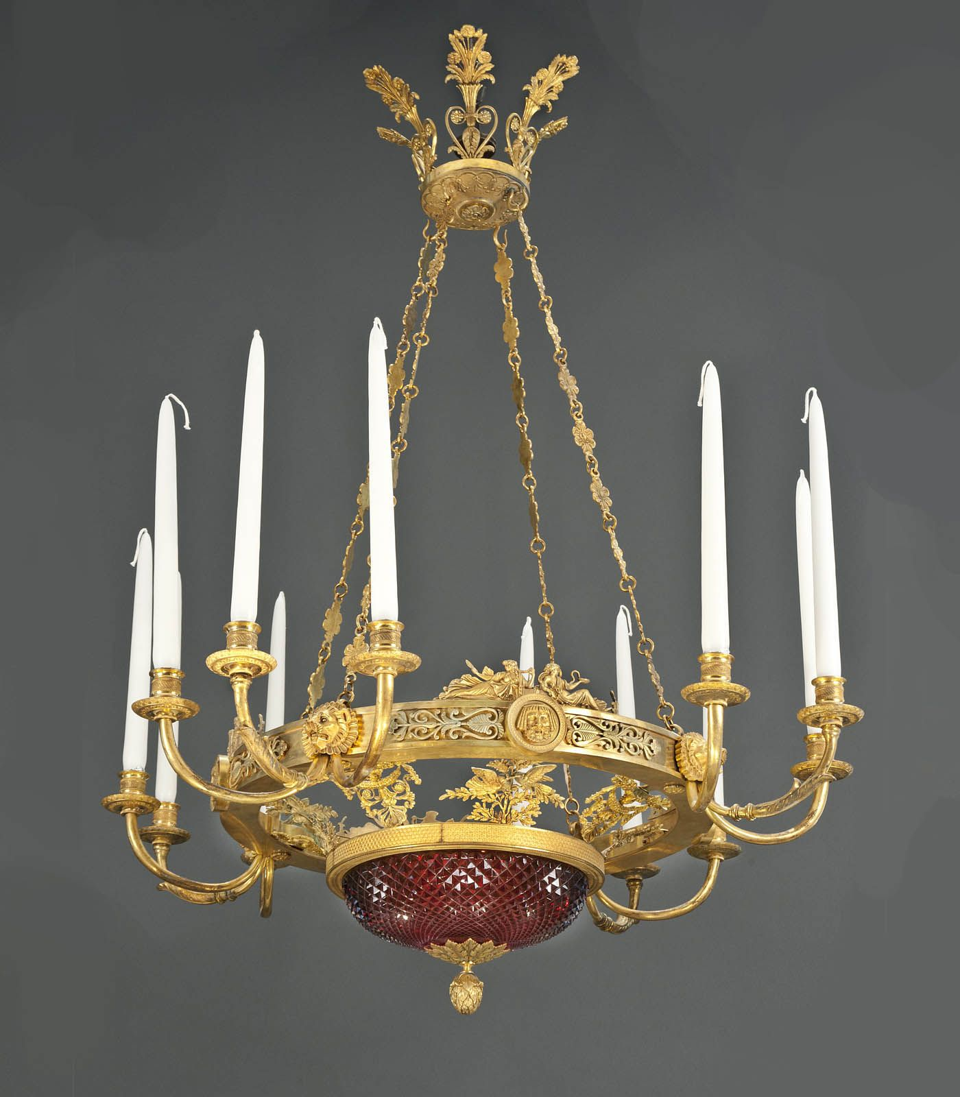 A Matched Pair Of Important And Rare Russian Empire Chandeliers By Andrei Schreiber