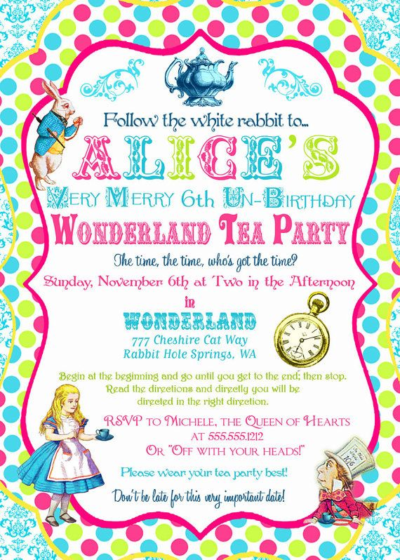 Alice in wonderland invitation birthday tea party collection alice in wonderland invitation birthday tea by gwynnwassondesigns 1500 stopboris