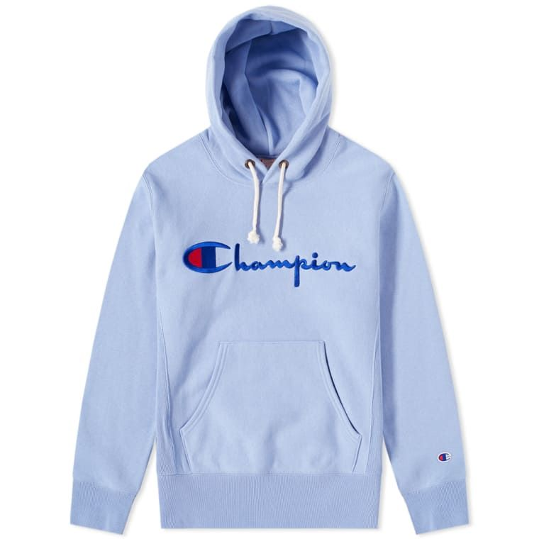 8609564b386 Champion Reverse Weave Script Logo Hoody in 2019 | Light Blue ...