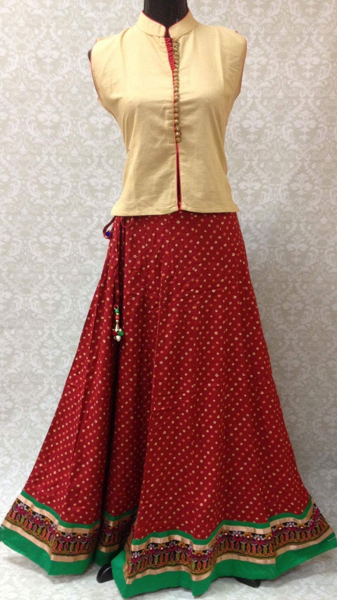 Cotton Bandhani Skirt