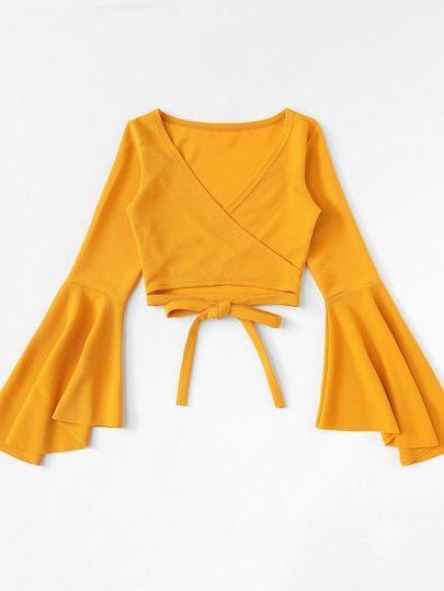 Tie Hem Flounce Sleeve TopFor Women-romwe #spanishthings