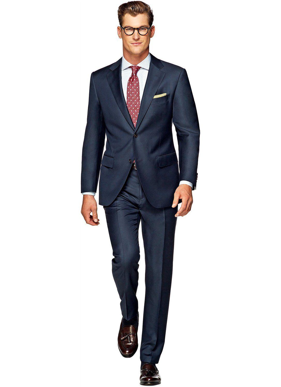 Suitsupply Blau Unifarben Anzug aus Reine Wolle S110s