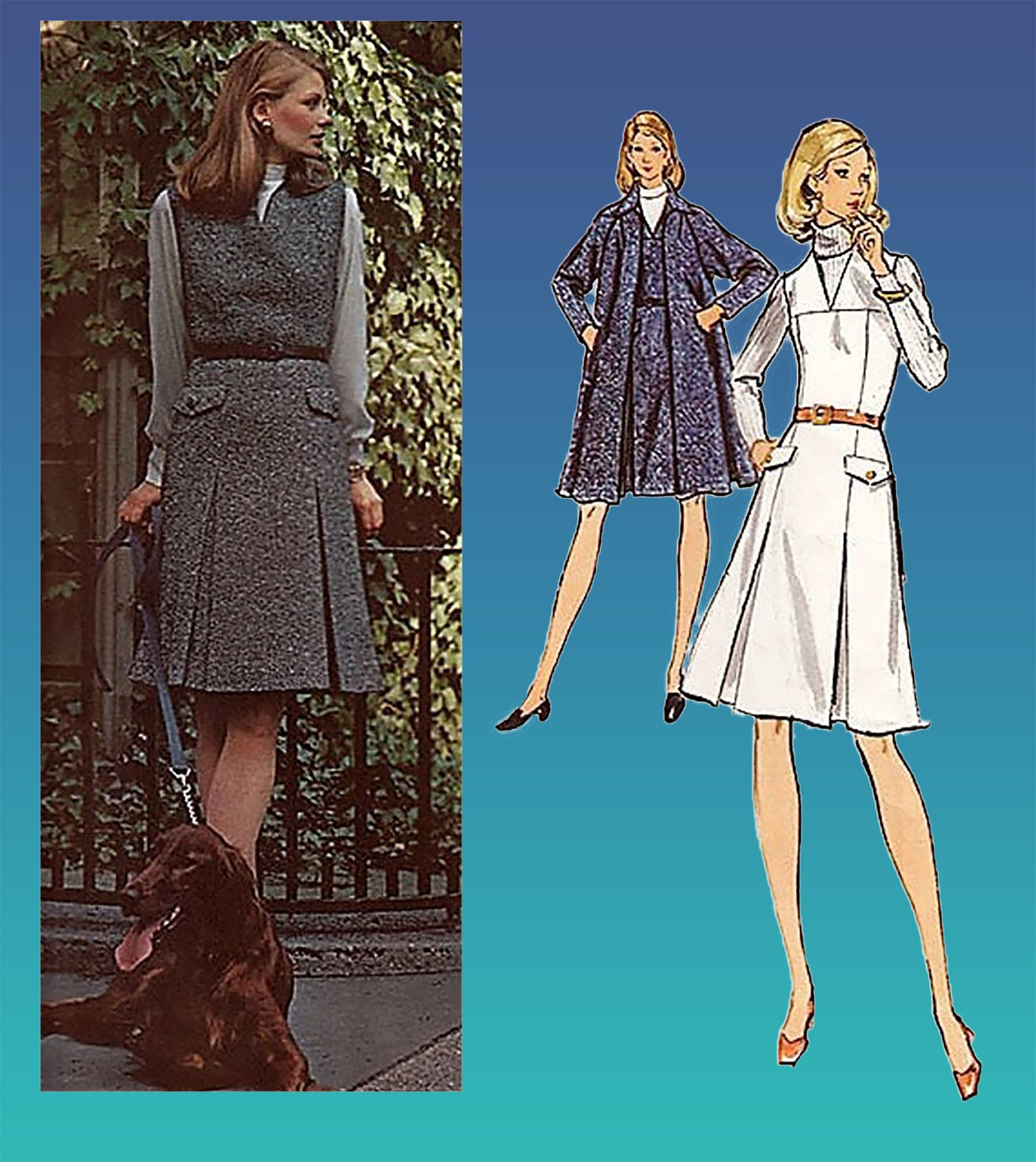 70s Sybil Connolly Womens Tent Coat /& Semi-Fitted Jumper Vogue Sewing Pattern 2778 Size 12 Bust 34