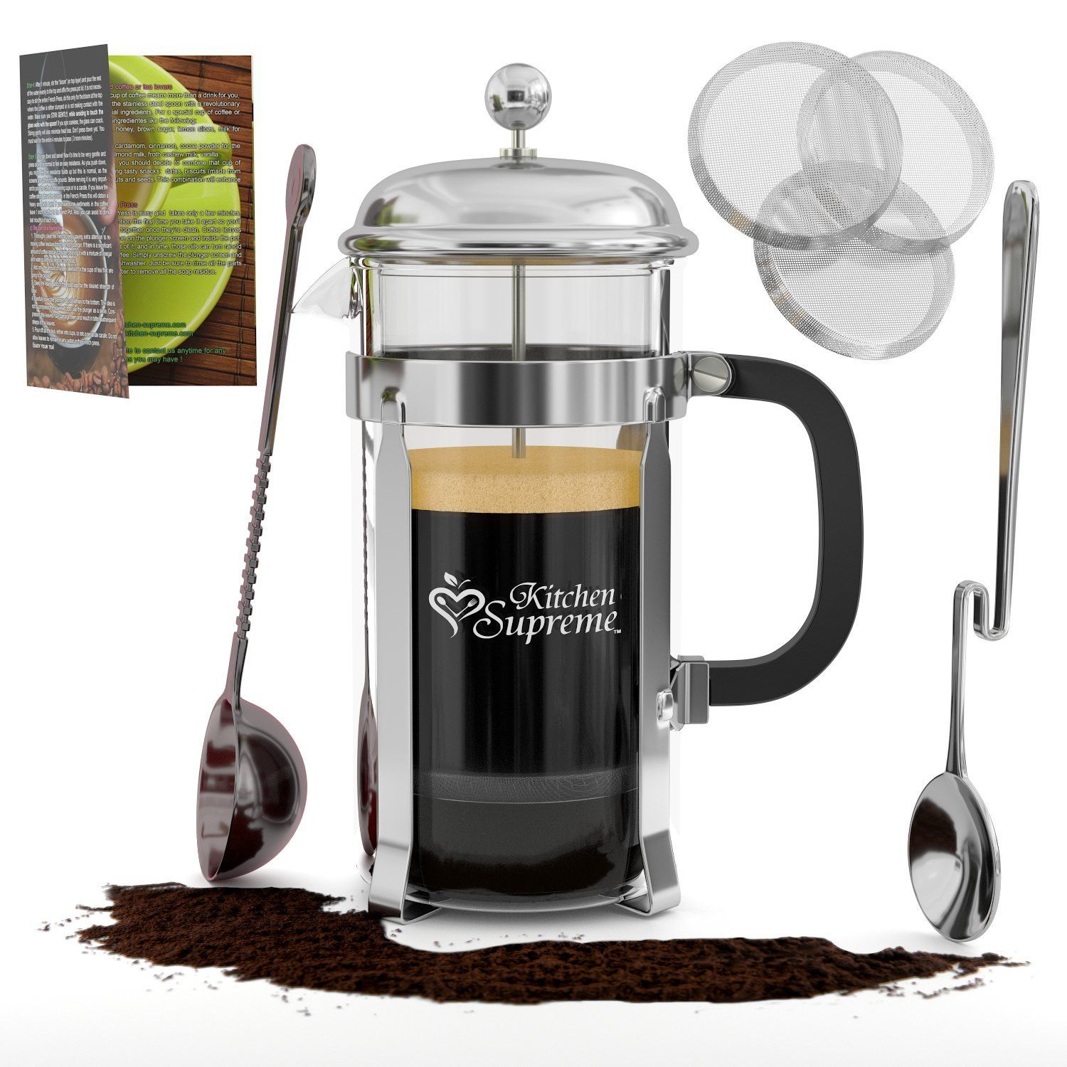 French Press Coffee Tea Maker Complete Bundle 8 Cups 34 Oz